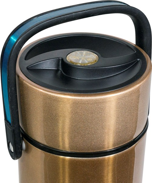Термос Steel Food M 2,2 литра с тремя ёмкостями для еды - крышка и ручка