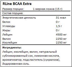 Состав ВСАА Extra от RLine