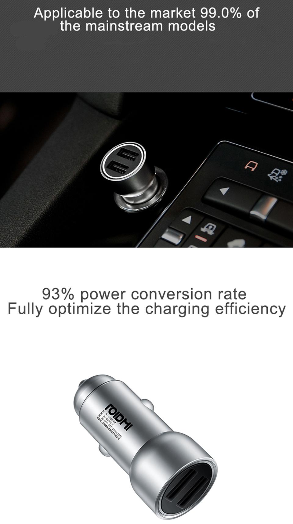 Автомобильное зарядное устройство RoidMi Car Charger автоматическое регулирование мощности
