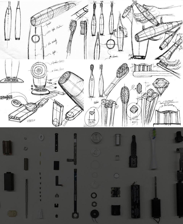 Электрическая зубная щетка Oclean One прорисовка макета и детали устройства