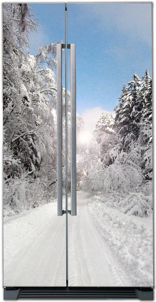 Виниловая наклейка на холодильник - Зимний парк