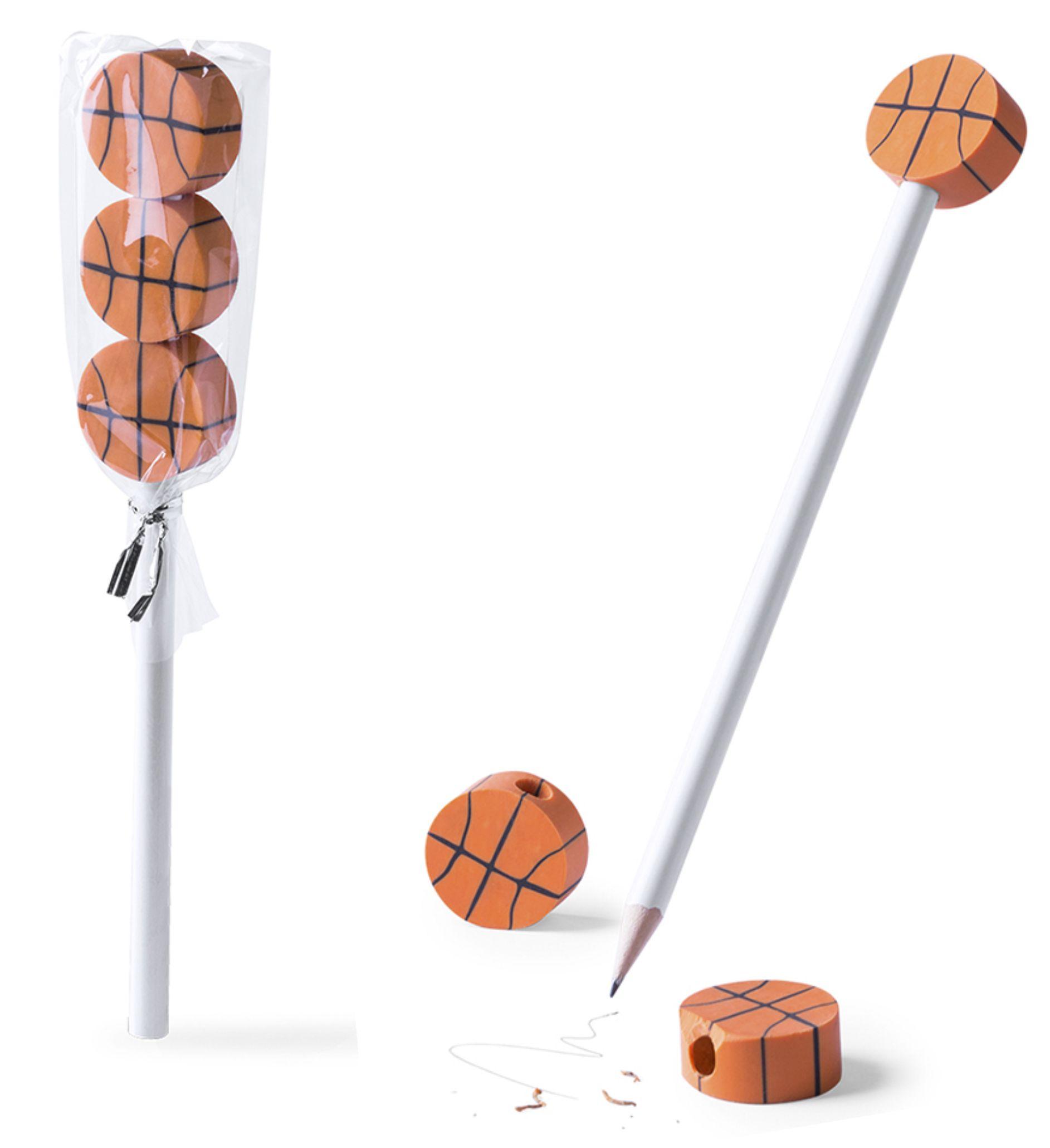 карандаш с ластиками баскетбол