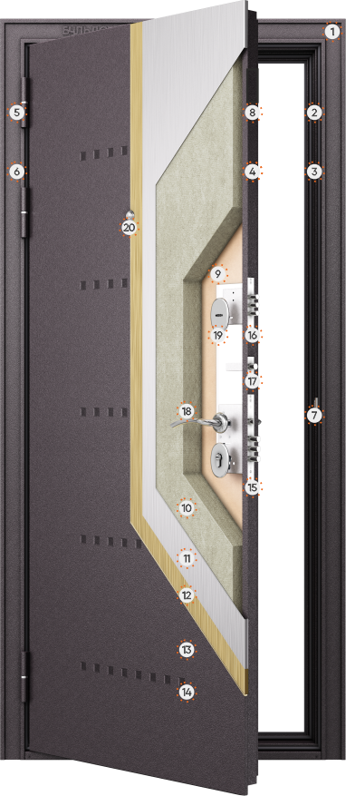 Конструкция входных дверей Бульдорс Mass 90