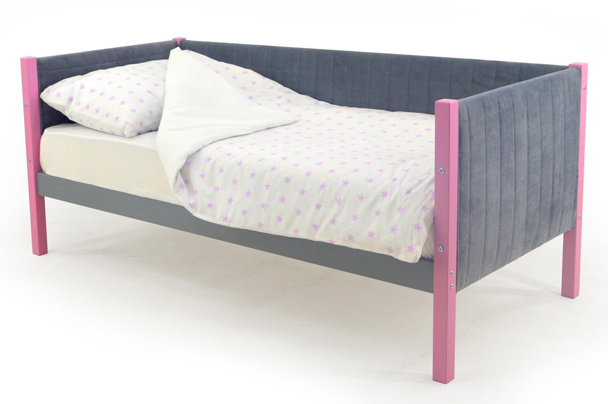 Кровать-тахта мягкая лаванда-графит