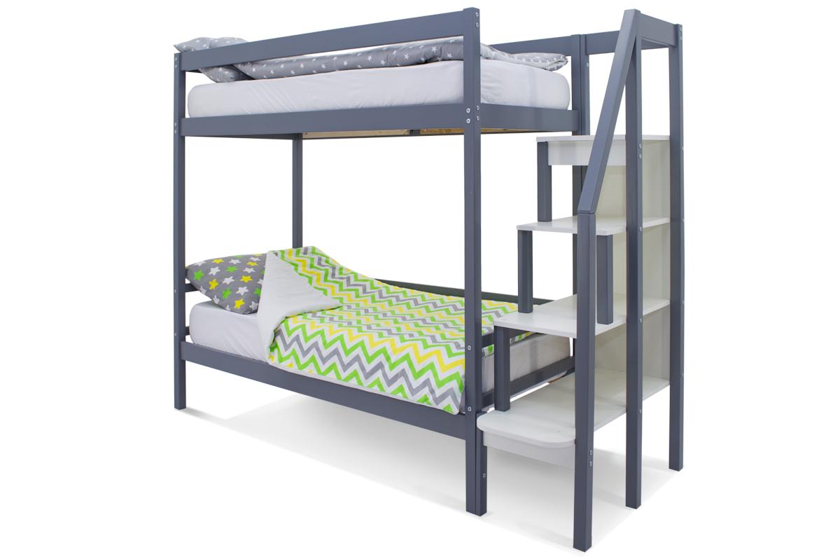 двухъярусная кровать детская графит