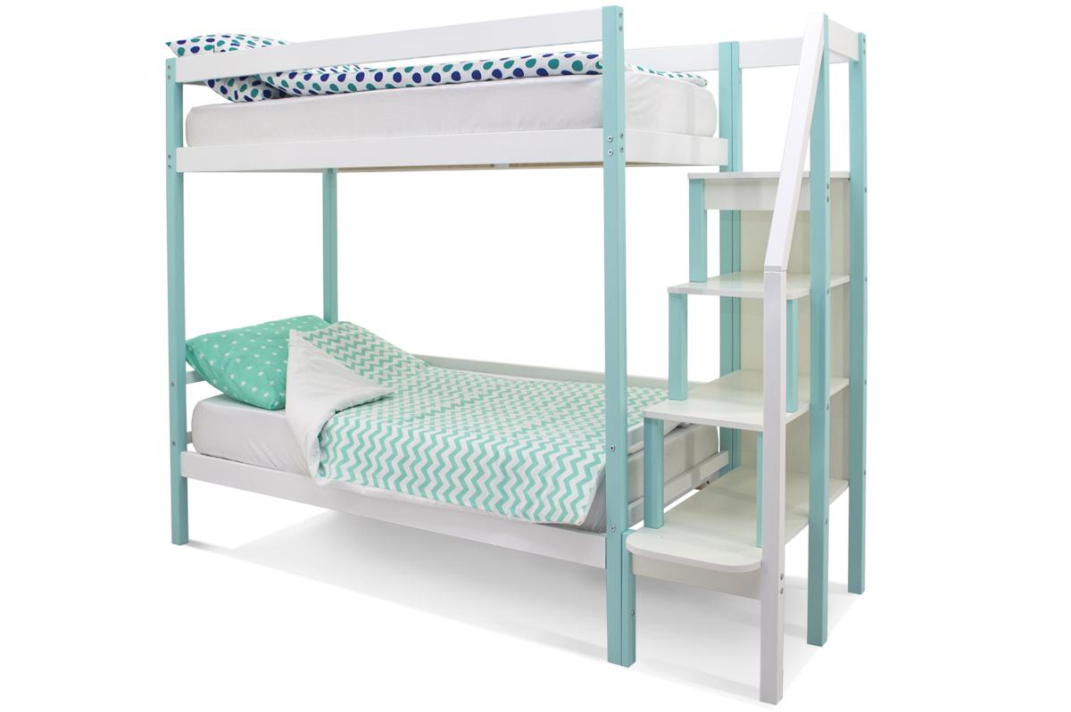 двухъярусная кровать детская мятно-белый