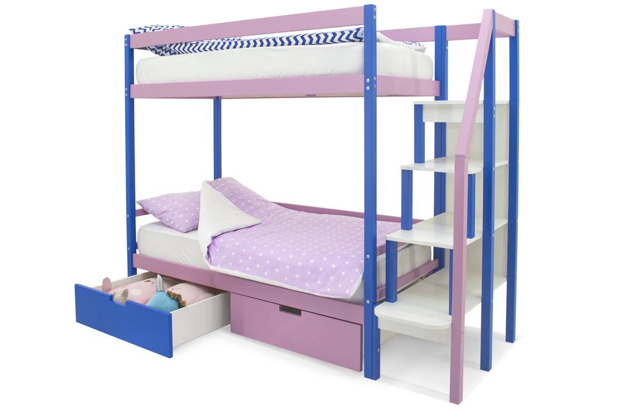 двухъярусная кровать детская синий-лаванда