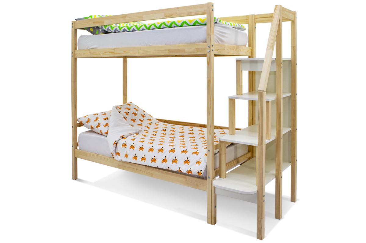 двухъярусная кровать детская натурал