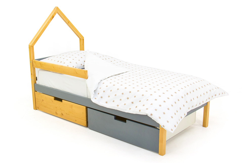 детская кровать дерево-графит