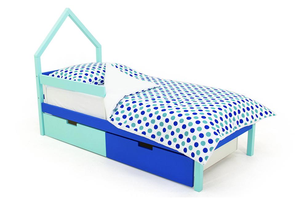 детская кровать мятно-синий