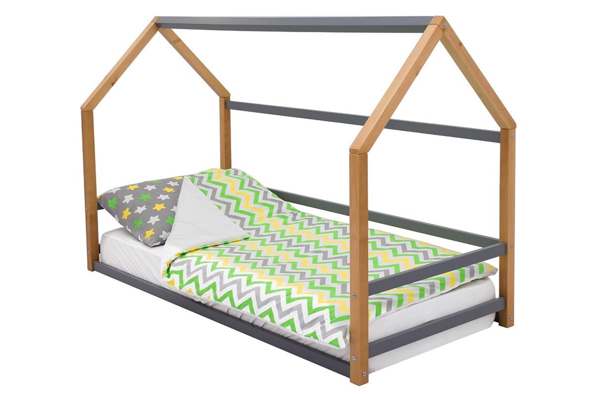 детская кровать монтессори дерево-графит