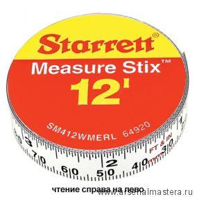 Лента измерительная клеящаяся Starrett Measure Stix 3,65 м х 13 мм цифры - справа налево метрич/дюйм М00008469