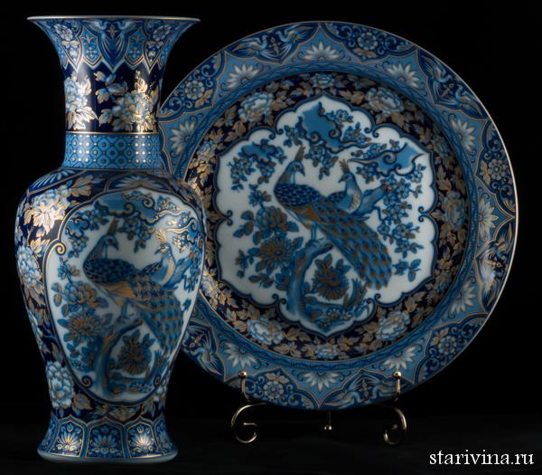 Декоративные фарфоровые ваза и блюдо
