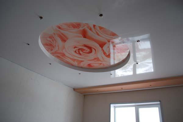 фотопечать на натяжном потолке с цветами
