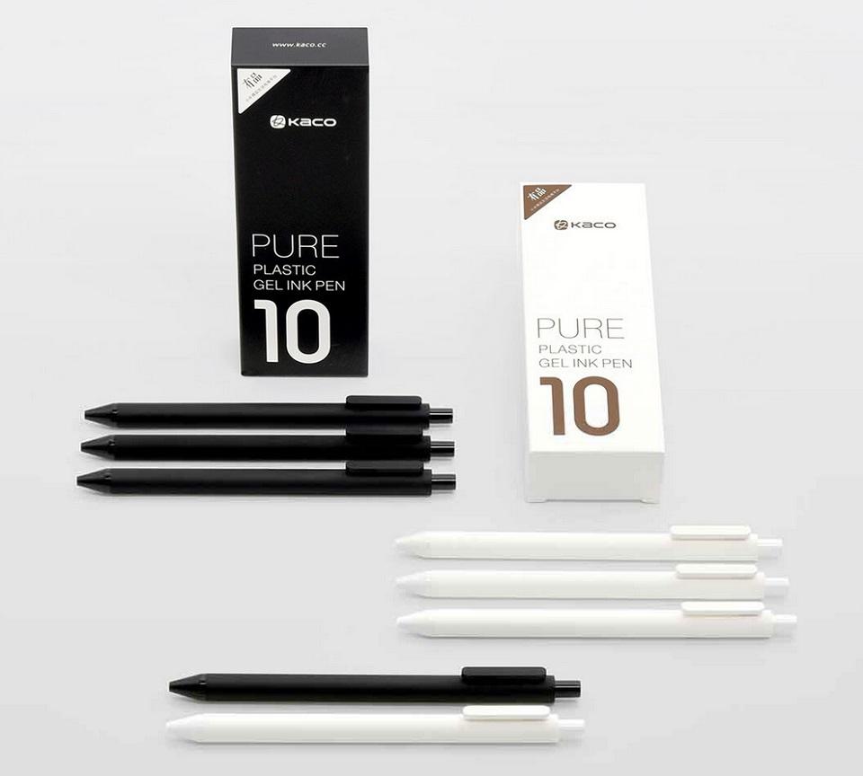 Набор гелевых ручек KACO Pure Gel Ink Pen 10 pcs K1015 в черном и белом цвете
