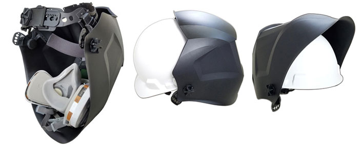 Установка респиратора и крепление на каску сварочной маски SUN-9