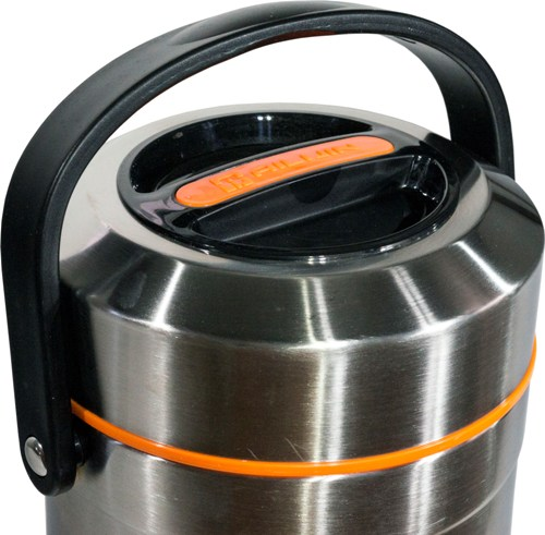 Термос Steel Food L 2,6 литра с тремя ёмкостями для еды - крышка и ручка