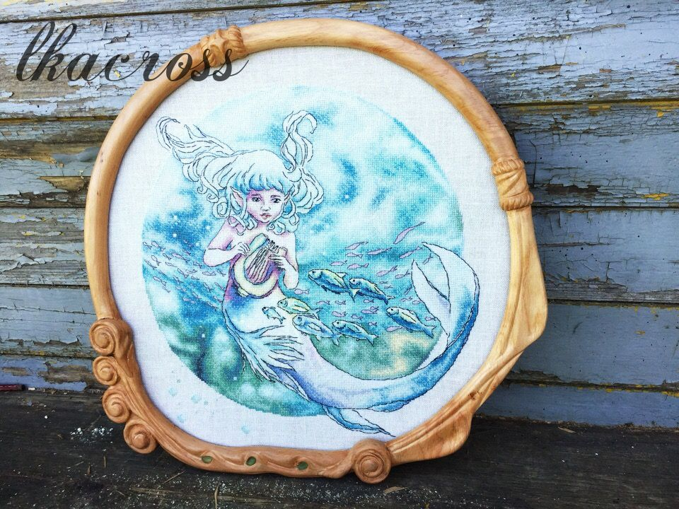 Схема для вышивки крестом Дитя океана. Отшив.