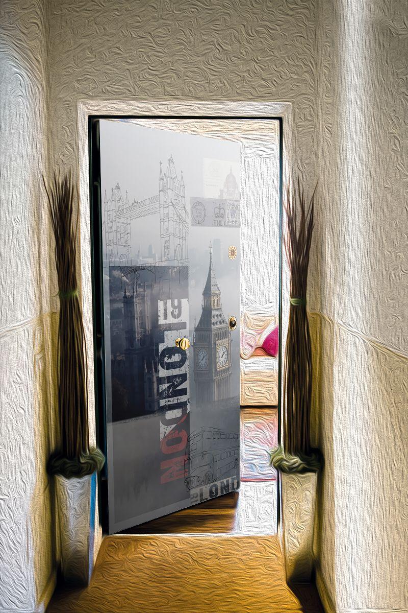 Наклейка на дверь - Лондонский туман | магазин Интерьерные наклейки