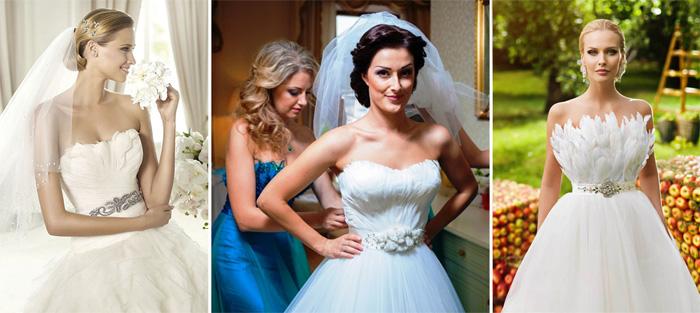 Перья в наряде невесты.