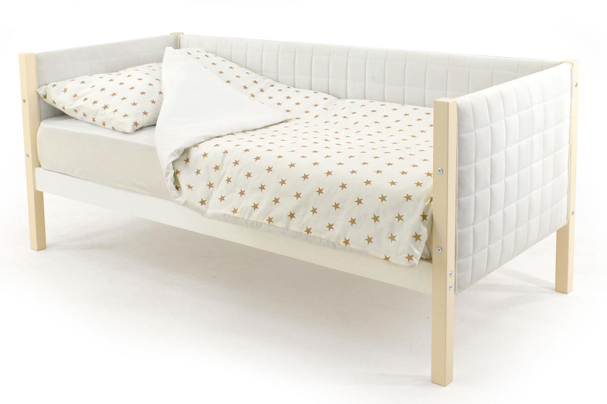 Кровать-тахта мягкая бежево-белый