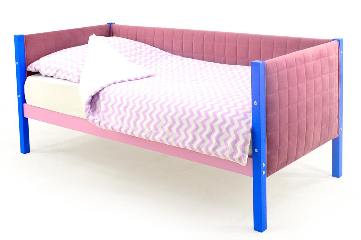Кровать-тахта мягкая синий-лаванда