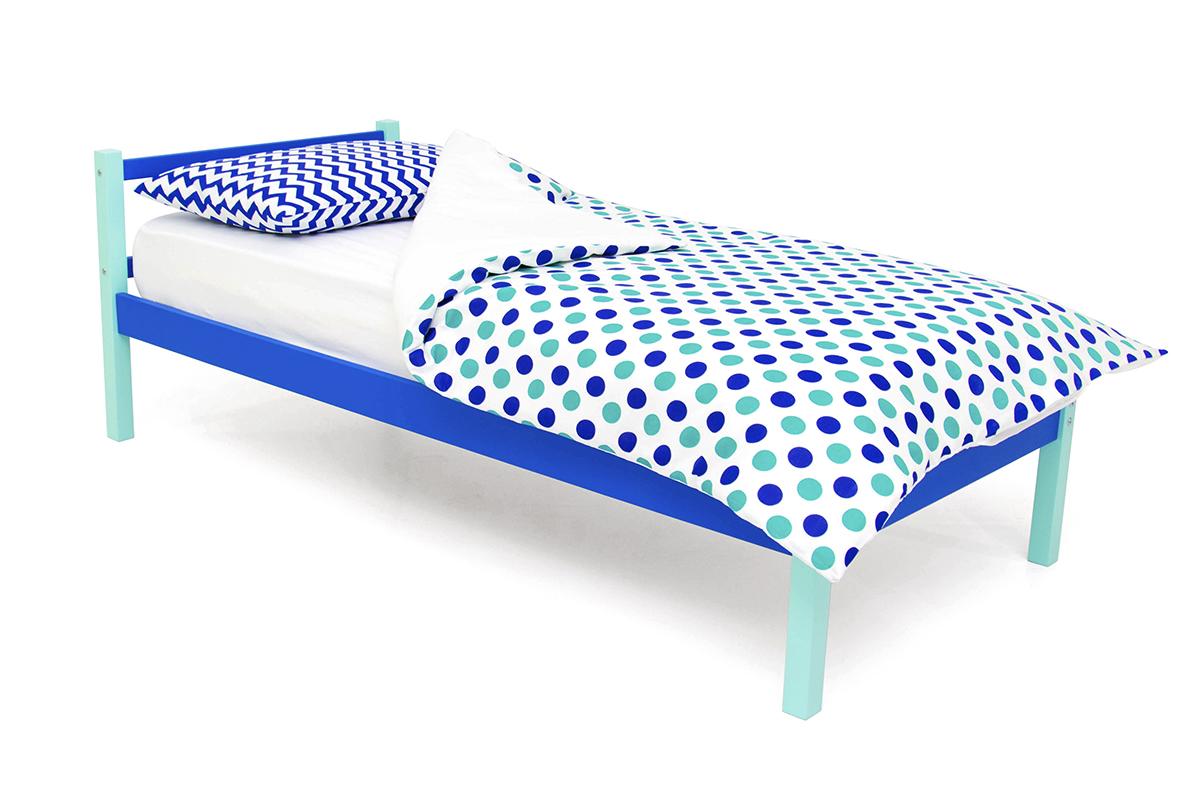 кровать детская мятно-синий