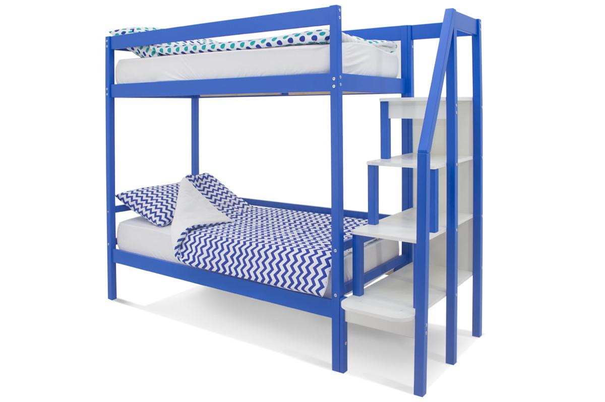 двухъярусная кровать детская синий