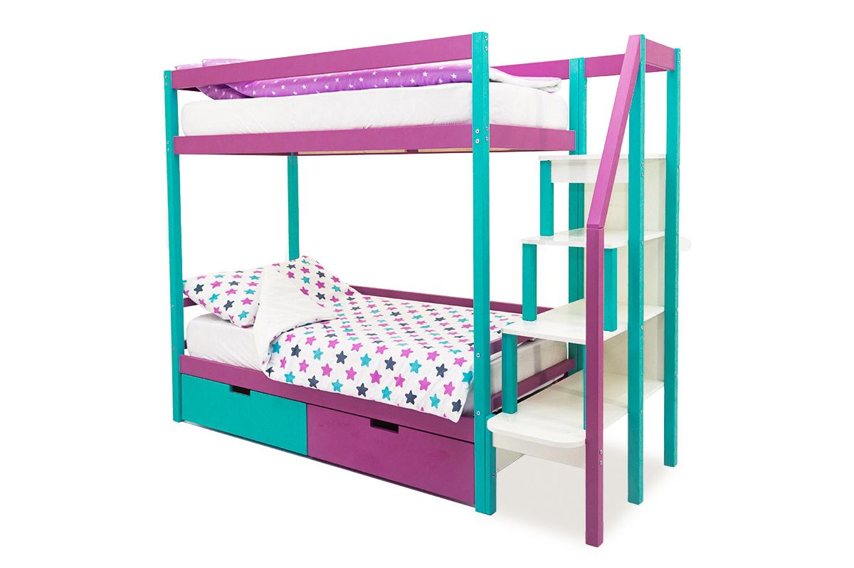 двухъярусная кровать детская мятный-лаванда