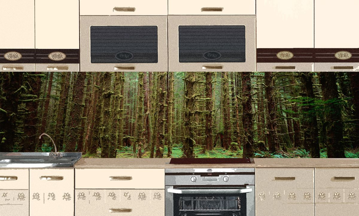 Kitchen Backsplash - Malachite Forest