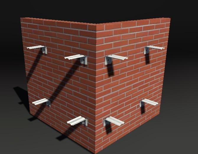 Монтаж кронштейнов при отделке фасадными панелями