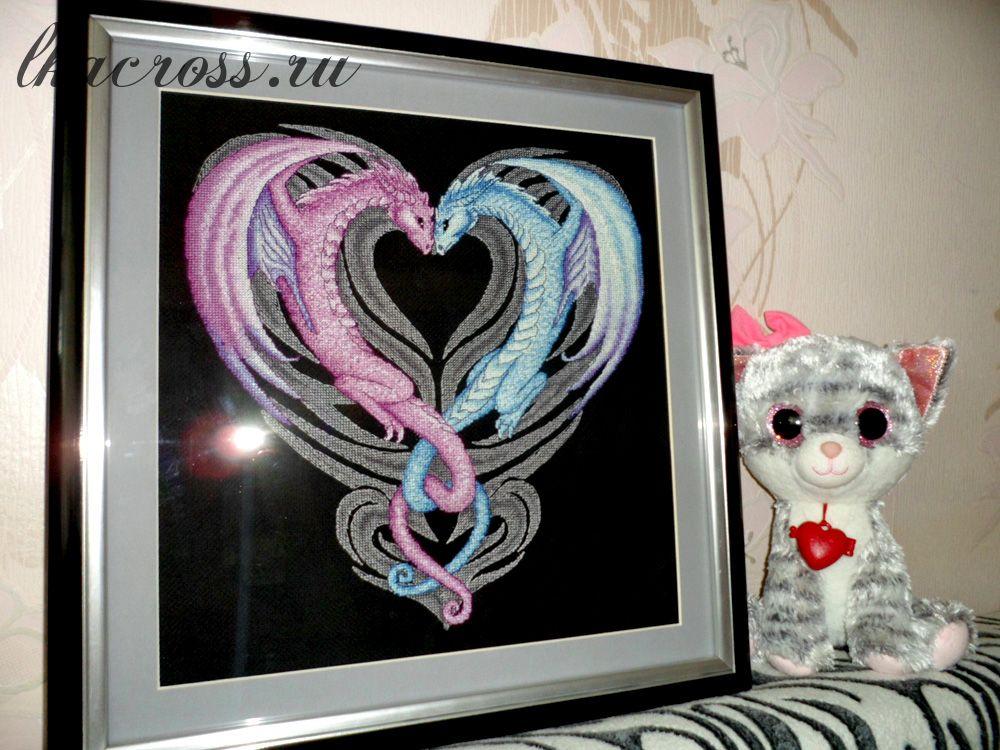 Схема для вышивания крестиком Сердце дракона. Отшив.