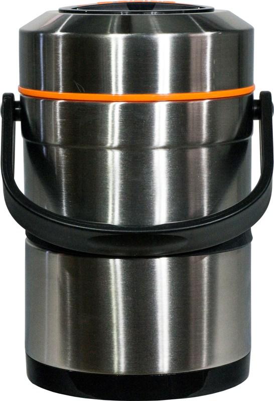 Термос Steel Food L 2,6 литра с тремя ёмкостями для еды - удобная форма
