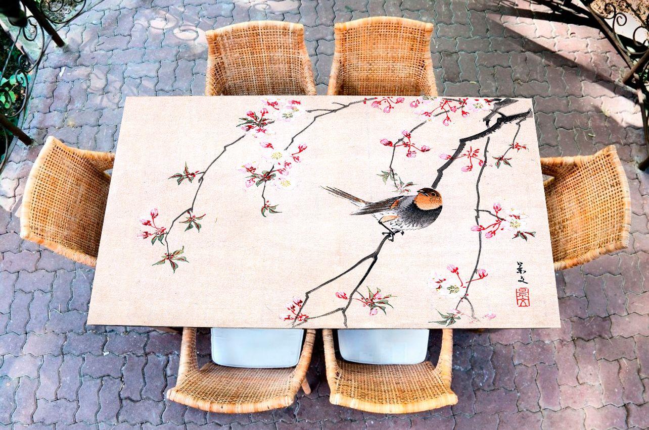 Наклейка на стол - Птица и вишня | Купить фотопечать на стол в магазине Интерьерные наклейки