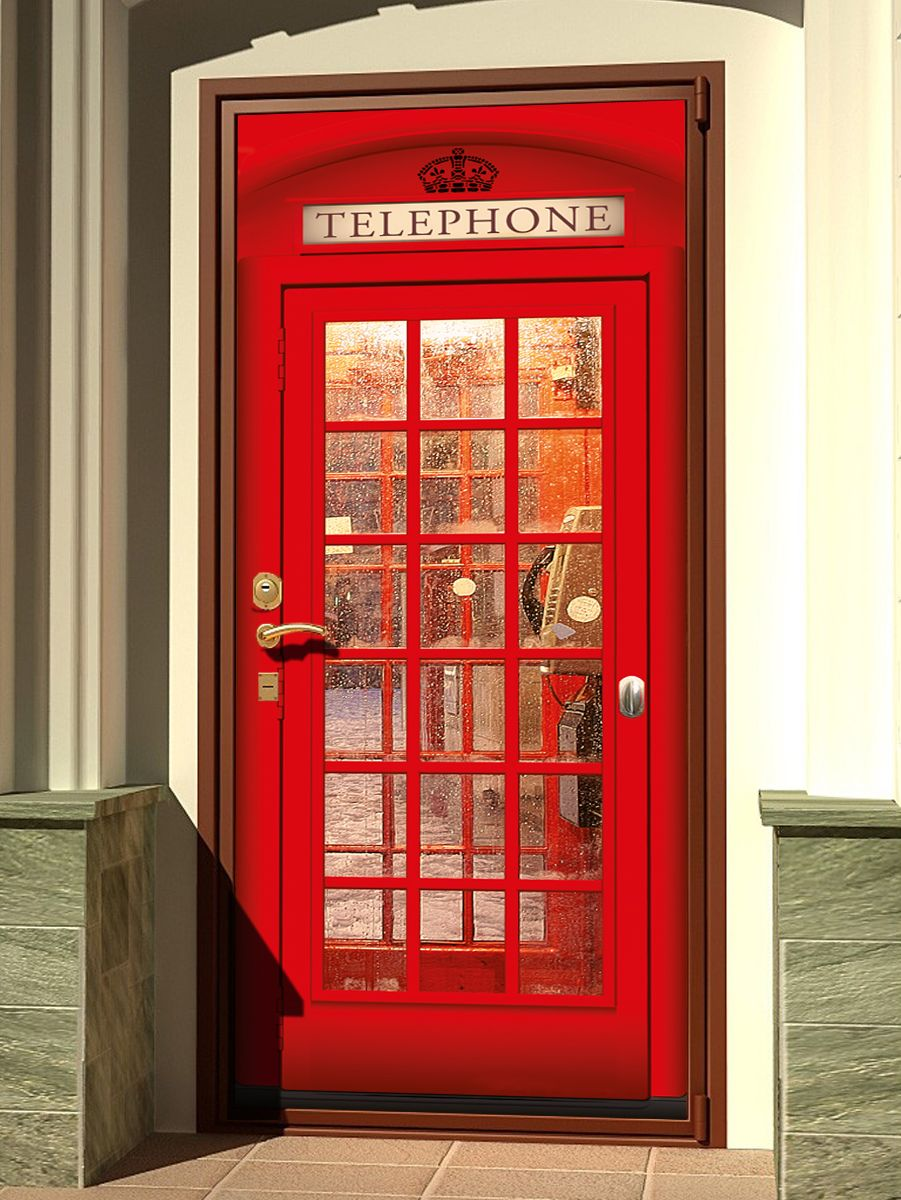 Door sticker - English Telephone Box 2 by X-Decor