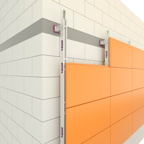 Вентилируемые фасады из алюминиевых кассет с межэтажным креплением кронштейнов в перекрытия
