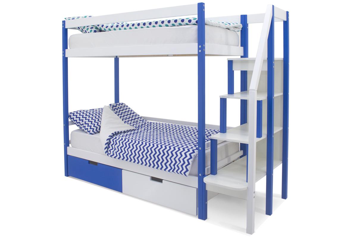 двухъярусная кровать детская синий-белый
