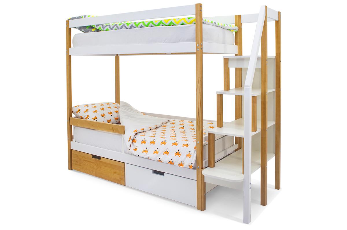 двухъярусная кровать детская дерево-белый