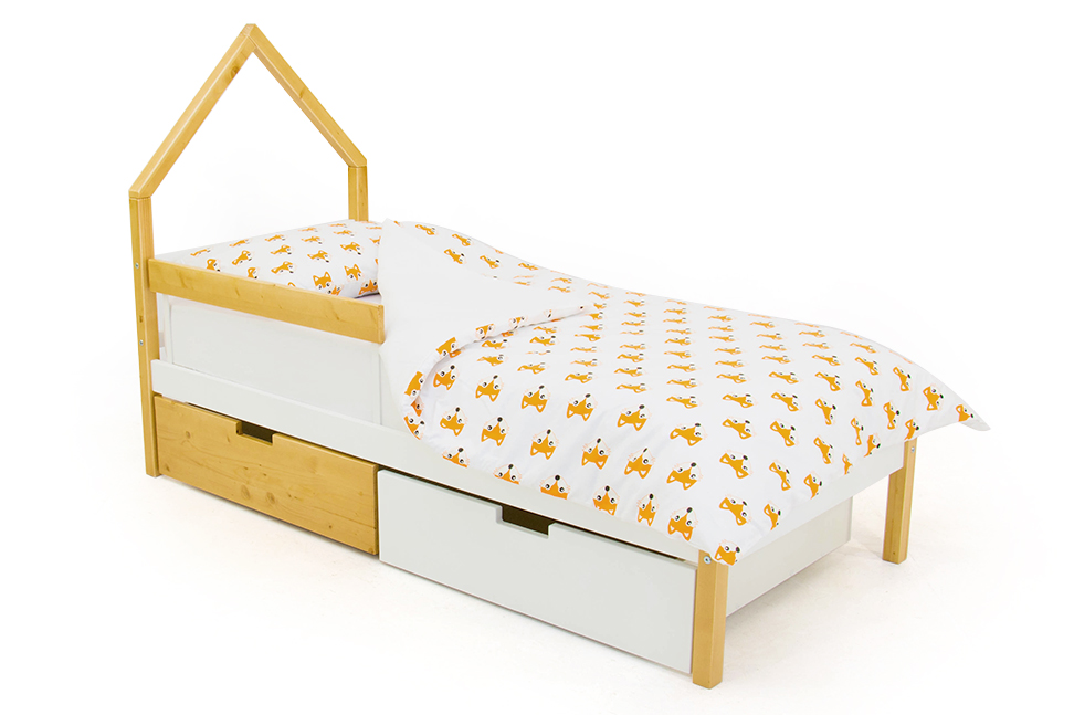 детская кровать дерево-белый