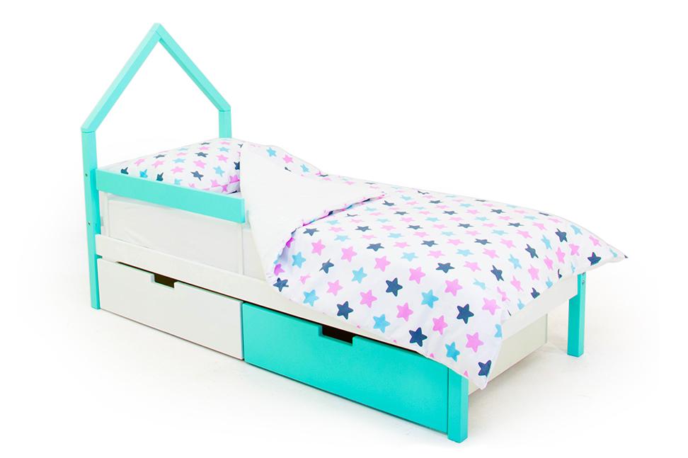 детская кровать мятно-белый