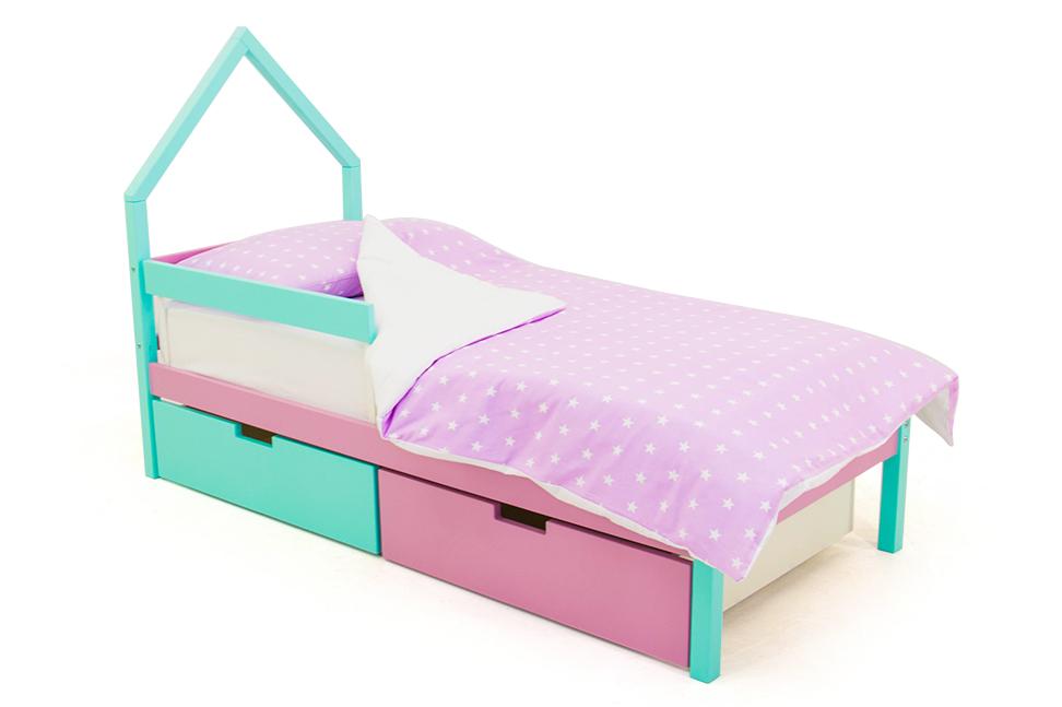 детская кровать мятный-белый