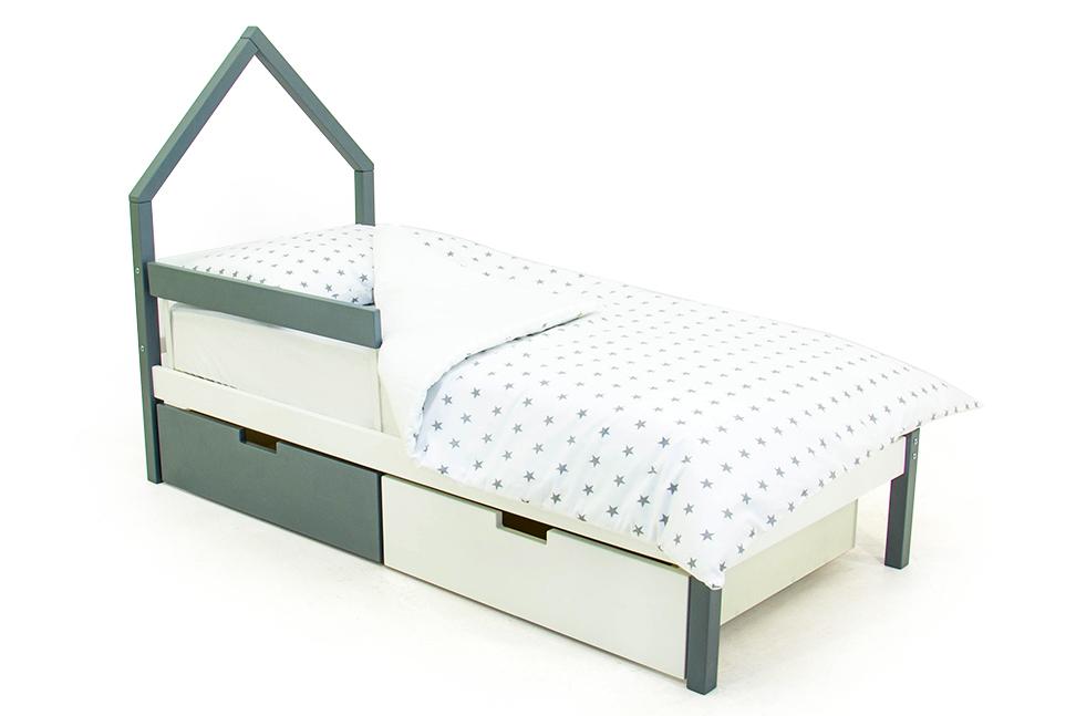 детская кровать графит-белый