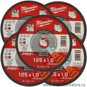 Диск комплект 5 шт. отрезной диск по металлу SCS 41  / 125 X 1 х 22.2 мм MILWAUKEE 4932451487-5-АМ