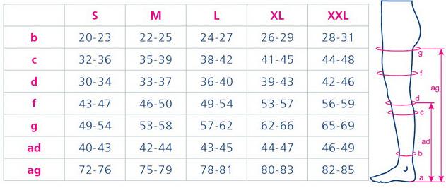Таблица подбора размера: