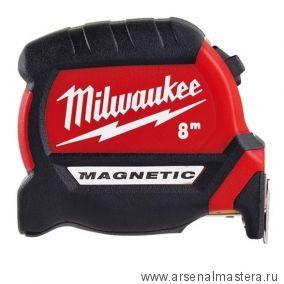 Рулетка магнитная GEN III 8 м ширина полотна 27 мм MAGNETIC TAPE PREMIUM MILWAUKEE 4932464600