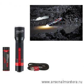 Компактный аккумуляторный фонарь зарядка через USB MILWAUKEE L4 MLED-201 4933459444