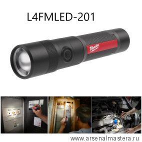 Фонарь светодиодный металлический без регулировки фокуса, зарядка микро-USB MILWAUKEE L4FMLED-201 4933478113