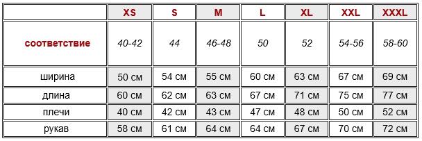 размерная таблица толстовок