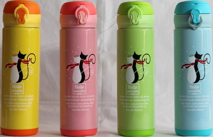 Термос питьевой Hello Winter с поилкой 500 мл - ассортимент цветов
