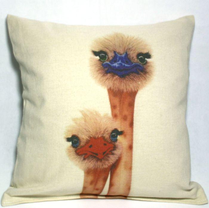 декоративная подушка с принтом страусята